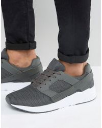 ASOS - Sneakers In Gray Mesh With Rubber Panels - Lyst