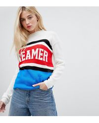Daisy Street - Jumper With Dreamer Design In Colour Block Knit - Lyst