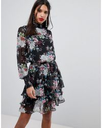 Y.A.S - High Neck Bold Floral Mini Dress - Lyst