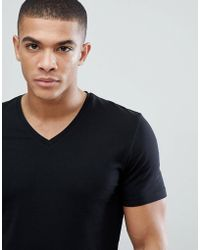 Esprit - Organic Muscle Fit V Neck T-shirt In Black - Lyst