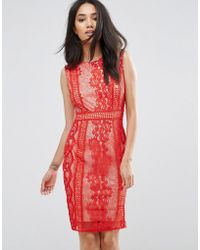 AX Paris - Red Lace Bodycon Dress - Lyst