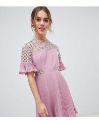 ASOS - Lace Insert Pleated Mini Dress - Lyst