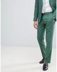 ASOS - Design Wedding Slim Suit Trousers In Pine Green - Lyst