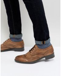 Frank Wright - Brogues In Tan Leather - Lyst