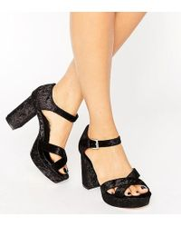 ASOS - Hummingbird Wide Fit Velvet Heeled Sandals - Lyst