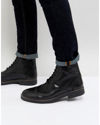 Frank Wright - Military Lace Up Boots In Hi Shine Black - Lyst
