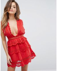 PrettyLittleThing - Lace Plunge Skater Dress - Lyst
