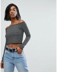 PrettyLittleThing - Frill Edge Stripe Bardot Top - Lyst