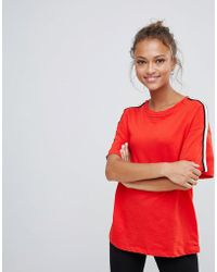 Bershka - Side Stripe T Shirt - Lyst