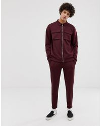 ASOS - Poly Tricot Tracksuit Harrington Jacket/skinny joggers With Chest Pockets In Burgundy - Lyst