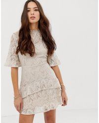 Moon River - Tiered Lace Mini Dress - Lyst