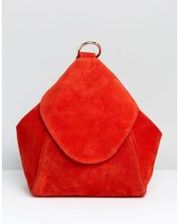 ASOS - Suede Minimal Backpack With Ring Pull Detail - Lyst
