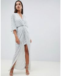 3e79d345670e ASOS - Scatter Sequin Knot Front Kimono Maxi Dress - Lyst