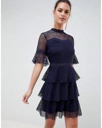 Liquorish - Layered Lace Dress With Flare Sleeve - Lyst