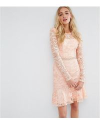 True Decadence Allover Premium Lace Skater Dress With Fluted Hem - Pink