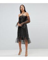 John Zack - Long Sleeve Cold Shoulder Metallic Star Print Midi Dress - Lyst