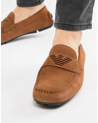 Emporio Armani - Suede Logo Driving Shoes In Tan - Lyst