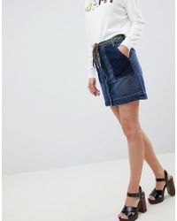 Tommy Hilfiger - Denim Skirt With Hiker Lace Belt - Lyst