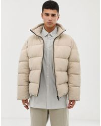 ASOS - Boxy Puffer Jacket In Beige - Lyst