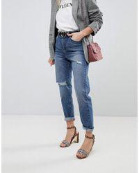 Miss Selfridge - Ripped Knee Mom Jeans - Lyst