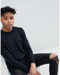 Benetton - Crew Neck Knit Jumper 100% Cotton In Black - Lyst