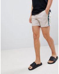 ASOS - Design Skinny Shorter Shorts In Beige With Green Side Stripe - Lyst