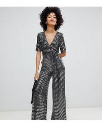 New Look - Glitter Jumpsuit Met Overslag In Zilver - Lyst