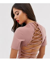 Missguided Lace Up Back Bodysuit In Nude
