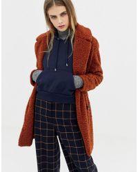 Pull&Bear - Borg Teddy Coat In Rust - Lyst