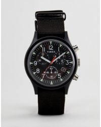 Timex - Tw2r67700 Expedition Chronograph Canvas Watch In Black - Lyst
