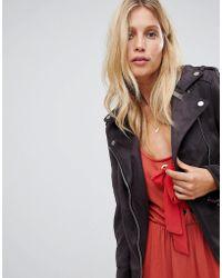 Warehouse - Biker Jacket In Faux Suede In Washed Black - Lyst