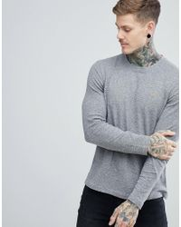 Farah - Lesser Slim Fit Waffle Textured Long Sleeve Top In Grey - Lyst