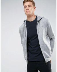 Armani Jeans - Zip Through Hooded Logo Sweat Grey - Lyst