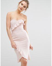 Elise Ryan - Midi Pencil Dress With Frill Detail - Lyst