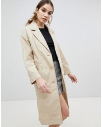 Monki - Button Front Lightweight Coat - Lyst
