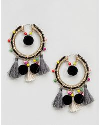 ASOS - Design Colourful Bead And Pom Tassel Hoop Earrings - Lyst
