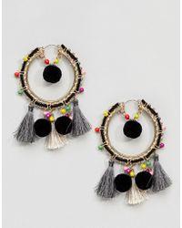 ASOS DESIGN - Colourful Bead And Pom Tassel Hoop Earrings - Lyst