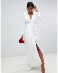 ASOS - Brautkleid aus Satin mit tiefem Ausschnitt und gewickelter Vorderseite - Lyst