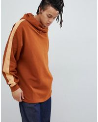 ASOS DESIGN - Oversized Hoodie With Slouch Neck And Side Stripe - Lyst