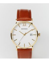 Sekonda - Gold Detail Brown Leather Strap Watch Exclusive To Asos 1112 - Lyst