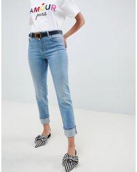 Miss Selfridge - Slim Leg Jeans With Turn Up Hem In Mid Wash - Lyst
