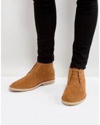 ASOS - Asos Desert Boots In Tan Faux Suede - Lyst