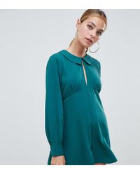ASOS - Asos Design Petite Tea Playsuit With Cut Out Detail And Collar - Lyst