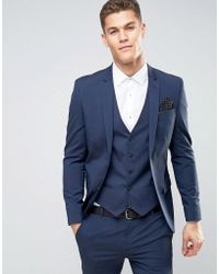 River Island - Skinny Fit Suit Jacket In Dark Blue - Lyst