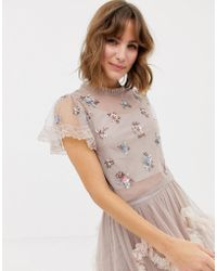 Needle & Thread - Embellished Crop Top In Rose - Lyst