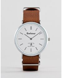 Barbour - Bb055slbr Hartley Leather Watch In Brown - Lyst