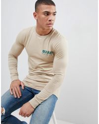 ASOS - Design Muscle Long Sleeve T-shirt With Chest Print - Lyst