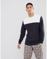ASOS - Oversized Longline Sweatshirt With Navy Colour Blocking - Lyst