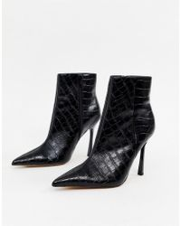 aee93afd038f ASOS - Evon Leather Heeled Boots In Black Croc - Lyst