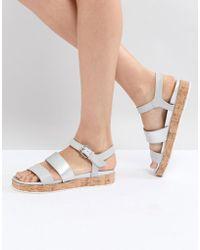 Dune - Blue Cork Flatform Sandals - Lyst